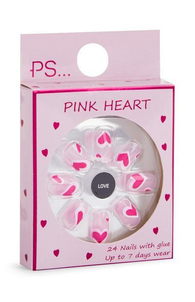 Faux ongles autocollants carrés roses à cœurs