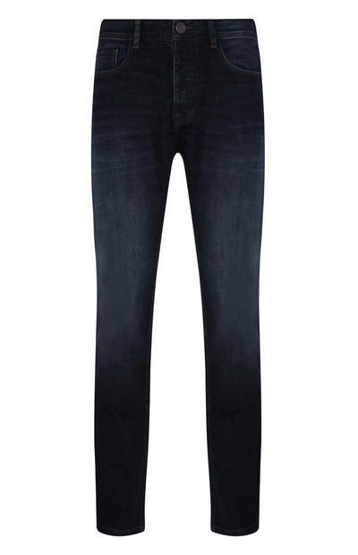 Jeans elasticizzati a gamba dritta blu scuro