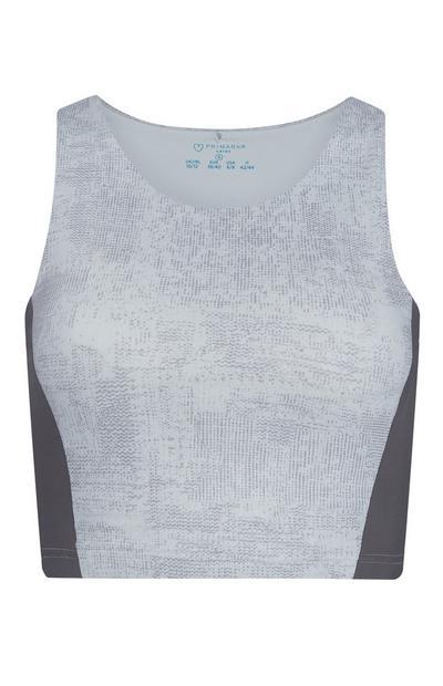 Top desporto curto textura poliamida reciclada cinzento