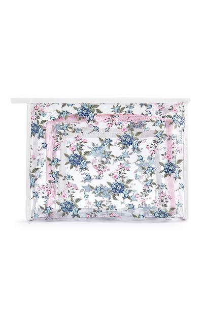 Pack 3 nécessaires padrão floral transparente