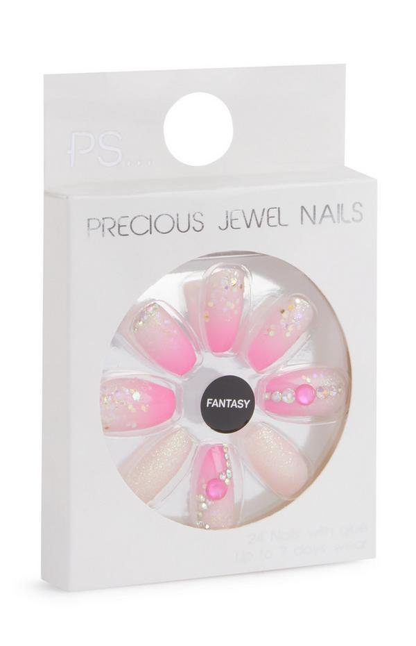 Squareletto Pink Ombre Embellished Stick On Nails