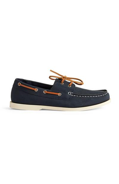 Navy Lace Up Boat Shoes