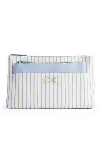 White And Blue Stripe 2-In-1 Make-Up Bag