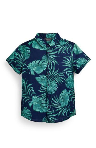 Marineblaues Oxfordhemd mit Blattmuster (Teeny Boys)