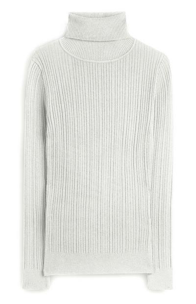 Jersey de canalé gris claro con cuello vuelto