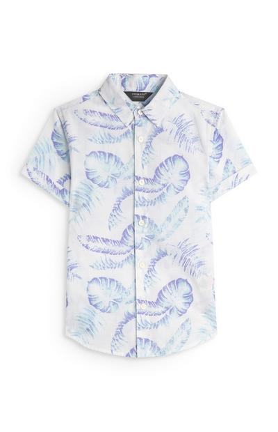 Younger Boy White Washed Leaf Print Oxford Shirt