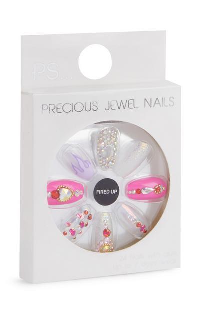 Unghie adesive rosa e trasparenti con cuori semisquadrate/a stiletto