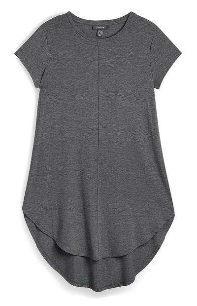 Grijs viscose shirt met korte mouwen