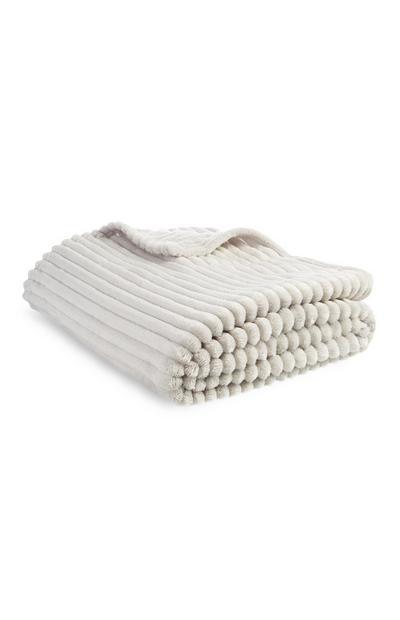 Superzachte crèmekleurige deken met textuur