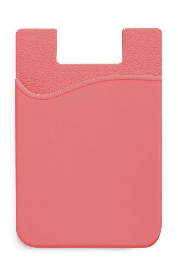 Pfirsichfarbenes Kartenetui aus Silikon