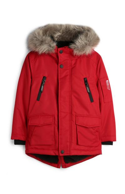 Younger Boy Faux Fur Lined Red Parka Coat