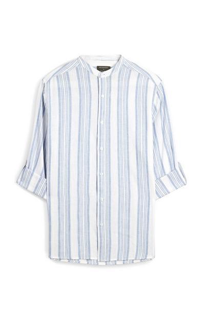Blauw/witte gestreepte blouse met opgerolde mouwen