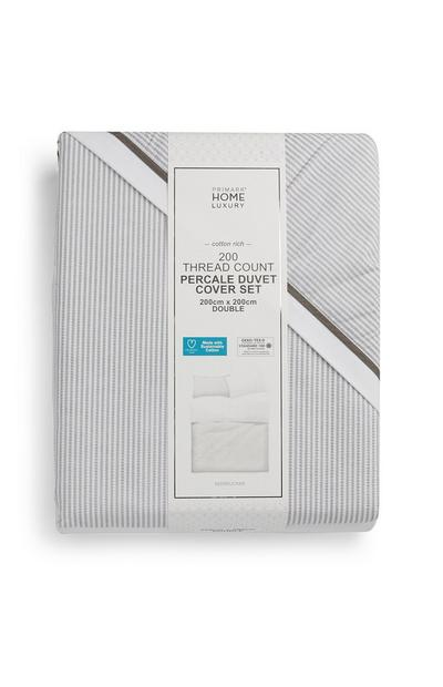 Light Grey Percale 200 Thread Count Double Duvet Cover Set