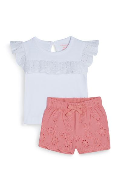 Baby Girl White And Pink Embroidered Shirt And Shorts Set