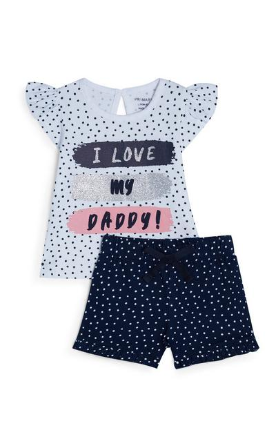 Ensemble chemise et short blanc et bleu marine à pois bébé fille