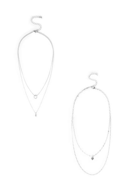 White Delicate Diamante Layered Necklace 2Pk