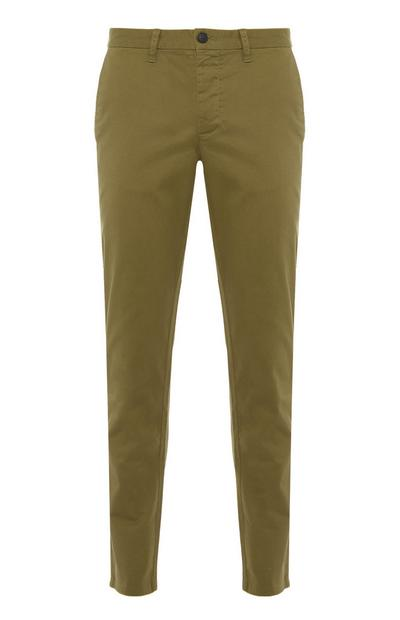 Pantalon chino kaki slim et stretch