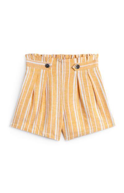 Older Girl Yellow Stripe Shorts