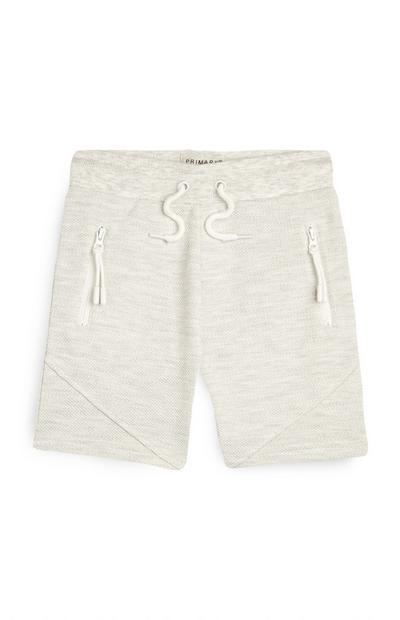Pantalón corto de piqué color marfil para niño pequeño