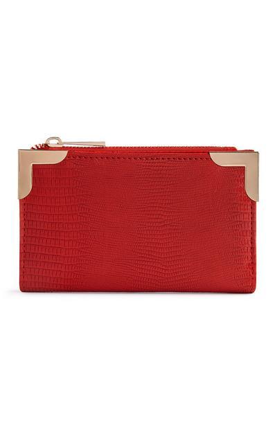 Portefeuille rouge à finitions en métal