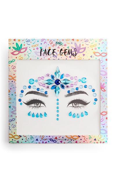 Pegatinas faciales de brillantes para carnaval de color azul