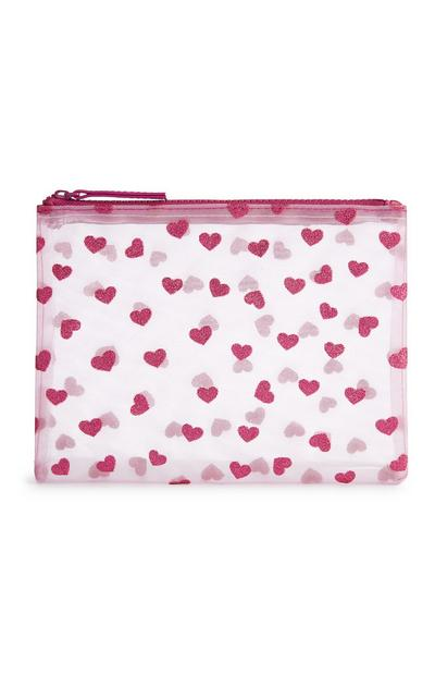 Pink Mesh Glitter Heart Pouch