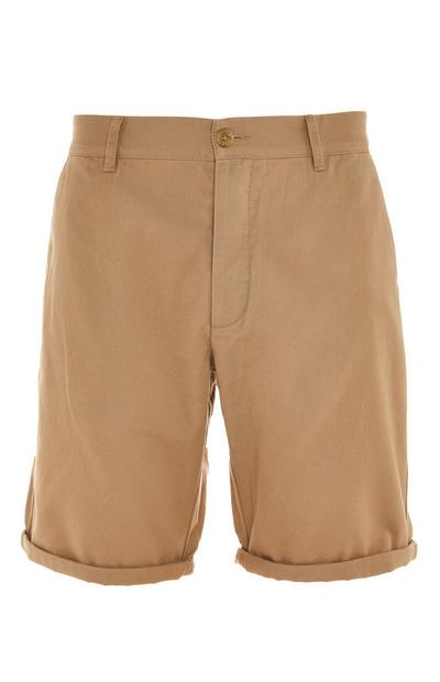Beige Rolled Hem Chino Shorts