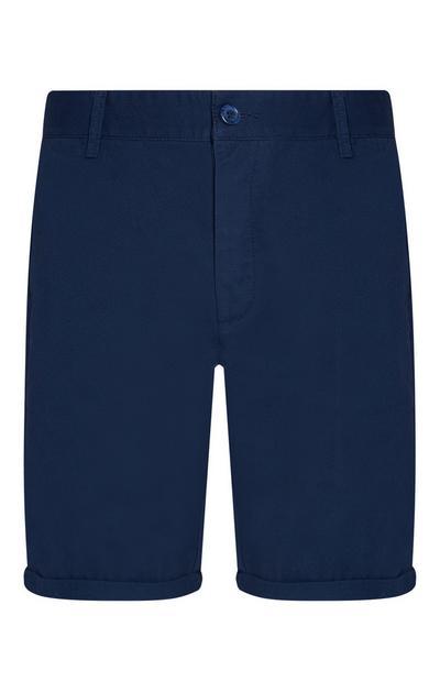 Shorts blu navy in denim con risvolto
