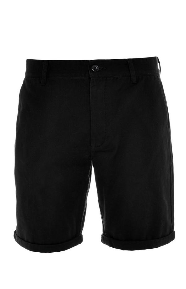 Black Rolled Hem Chino Shorts