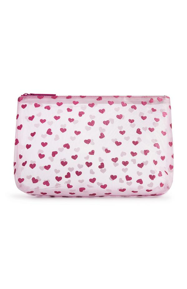Pink Mesh Glitter Heart Washbag