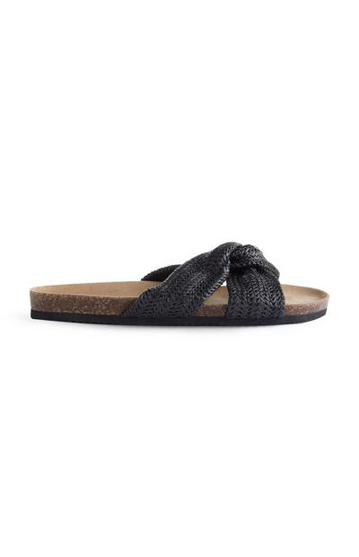 Schwarze Sandalen in Web-Optik mit Knoten