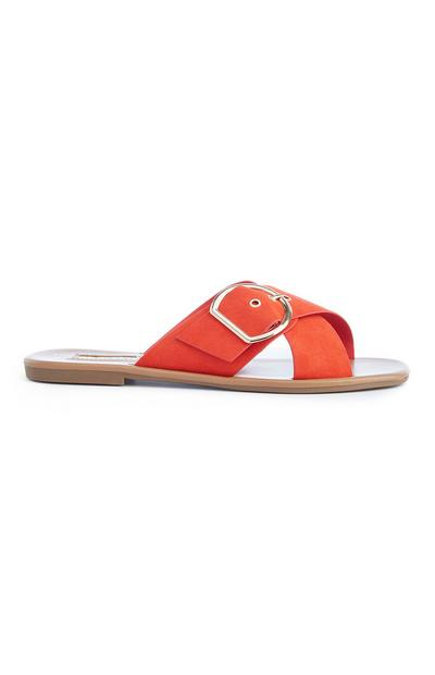 Sandálias fivela cor de laranja