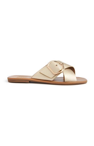 Sandálias fivela dourado