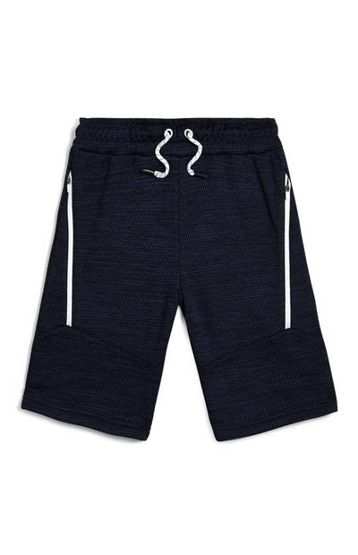Older Boy Navy Pique Mesh Shorts