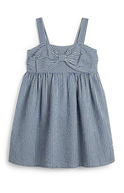 Younger Girl Navy And White Pinstripe Dress