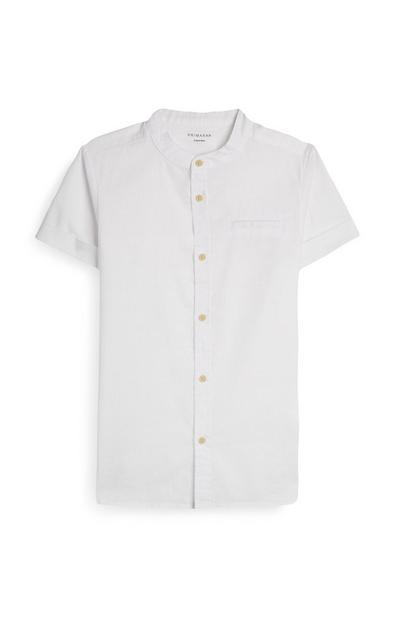 Older Boy Short Sleeve White Button Up Shirt