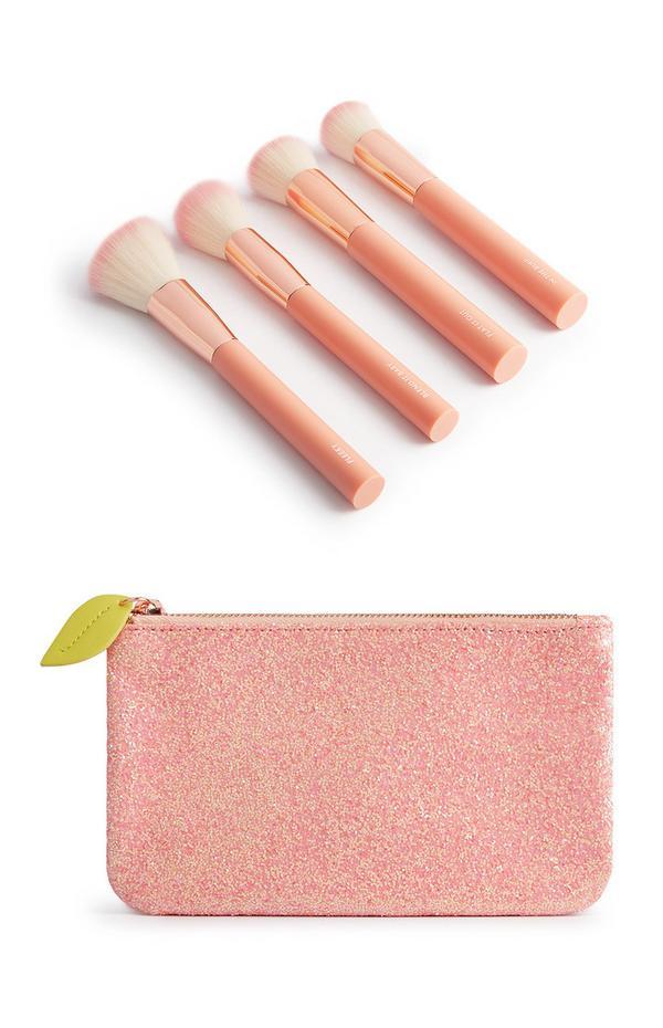 SD Beauty Peachy Makeup Bag And 4-Piece Brush Set