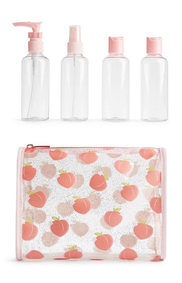 SD Beauty Peachy Make-Up Bag And 4Pk Travel Bottles