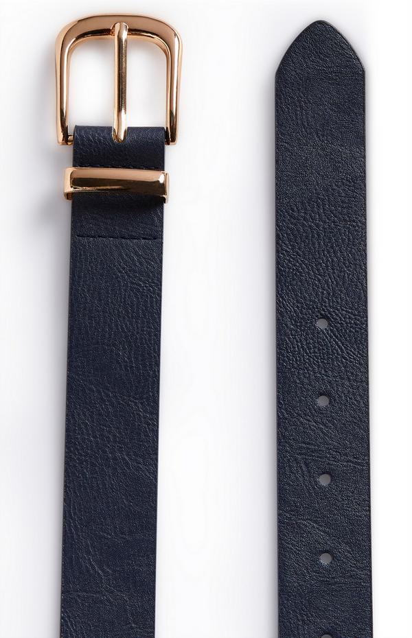 Marineblauer Jeansgürtel mit goldfarbener Schnalle