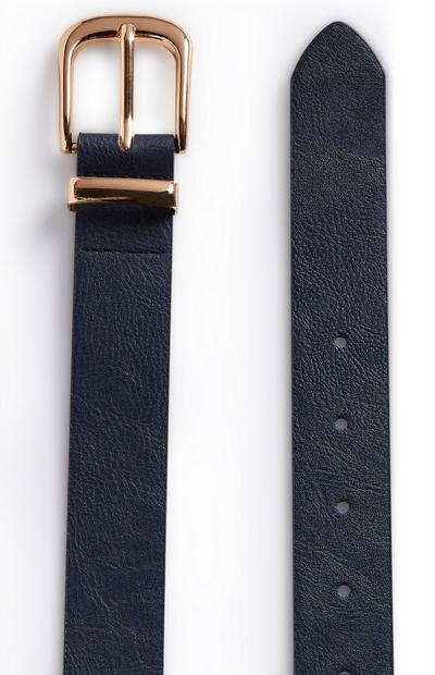 Navy Goldtone Buckle Jeans Belt