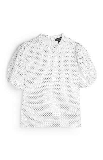 White Polka Dot Puff Sleeve Shirt