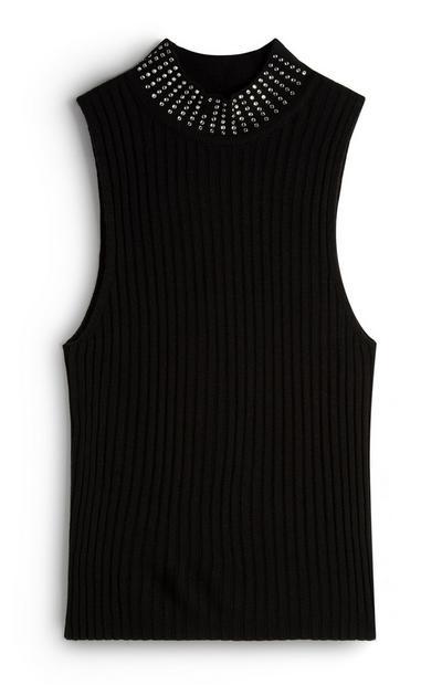 Black Embellished Neck Sleeveless Top