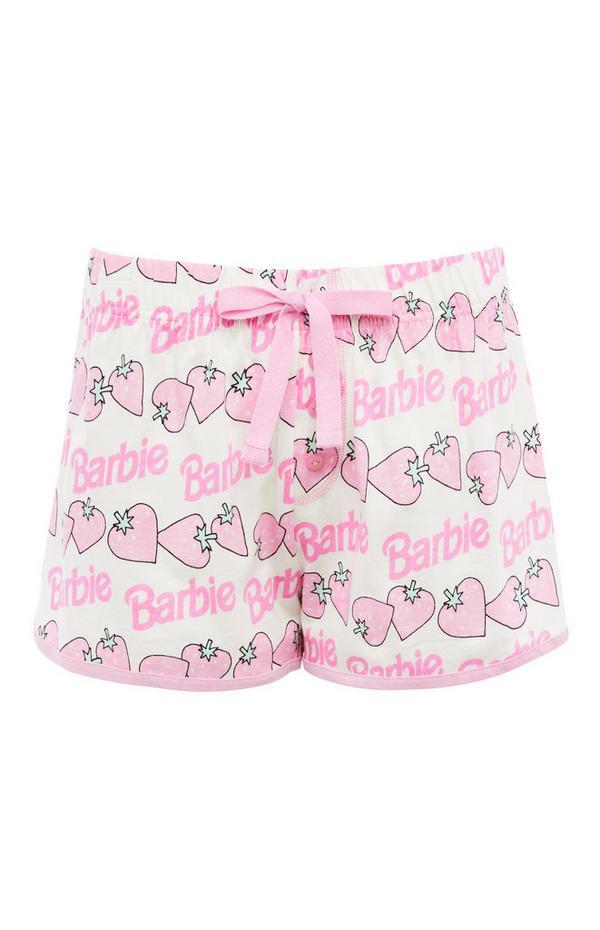 Rosa Shorts mit Barbie-Print und Kordelzug