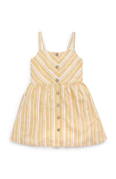 Abito giallo e bianco a righe in lino da bambina