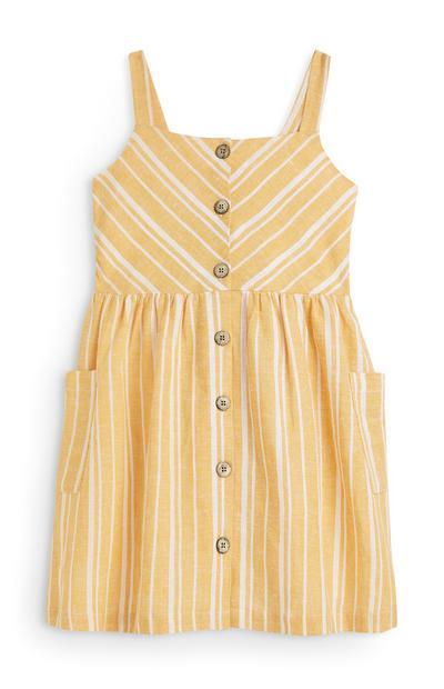 Younger Girl Yellow Stripe Linen Dress