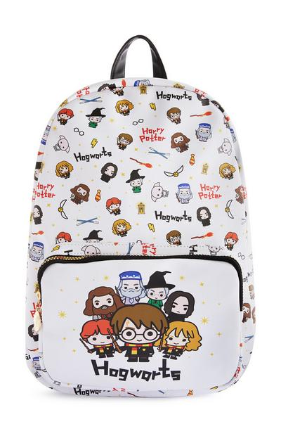 White Hogwarts Character Print Backpack
