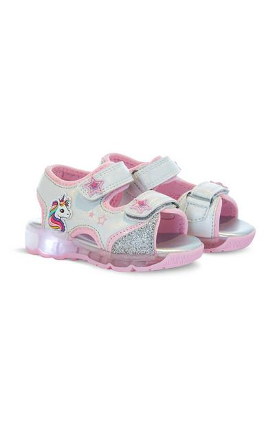 Younger Girl Unicorn First Steps Light-Up Sandals