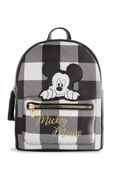 Black Mickey Mouse Check Backpack