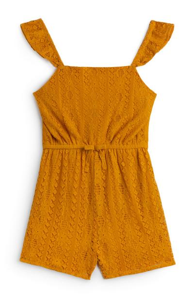 Younger Girl Mustard Lace Playsuit