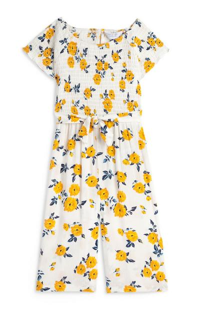 Younger Girl White Floral Culotte Jumpsuit